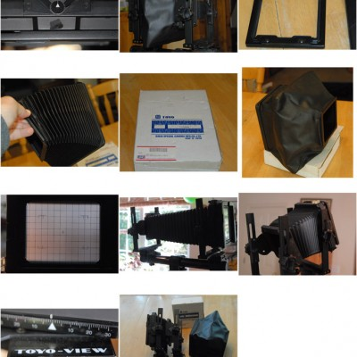 4x5 camera, complete, less lens film, film holders